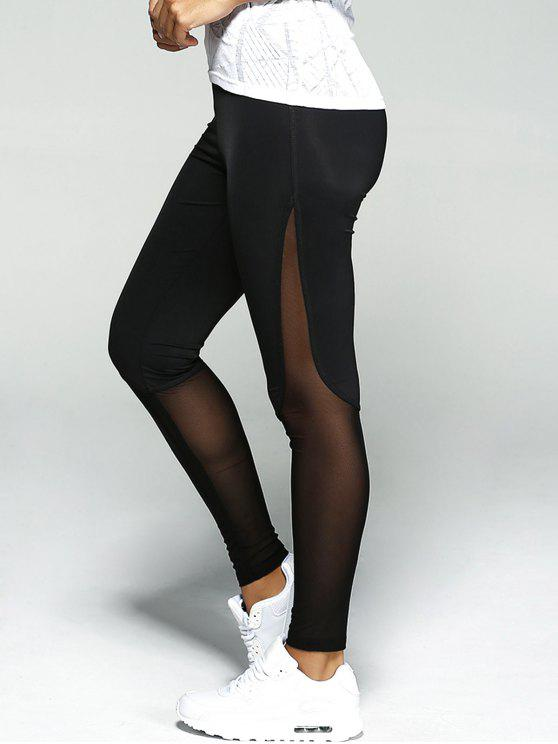 ladies Mesh Insert Sport Leggings - BLACK L