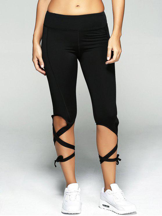 Lace Up Sport Pants - Black