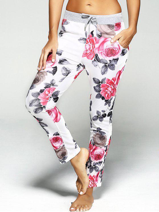 Pantalon de sport imprimé de fleurs avec lacet - Rouge L