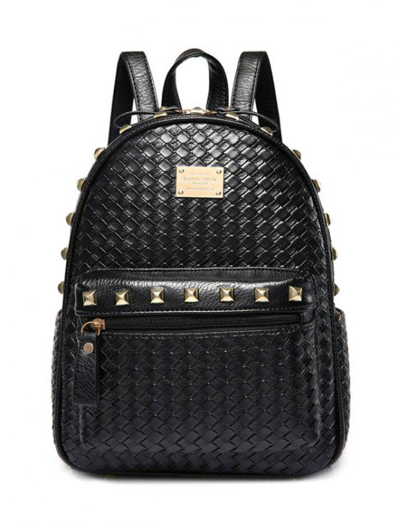 fashion Woven Pattern Rivets Zippers Backpack - BLACK