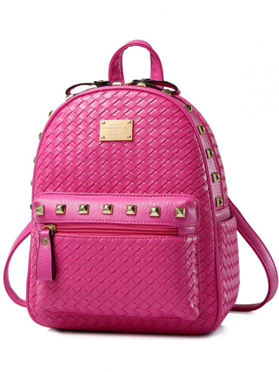 chic Woven Pattern Rivets Zippers Backpack - ROSE MADDER