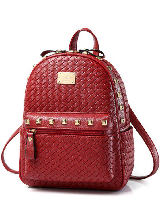 unique Woven Pattern Rivets Zippers Backpack - RED