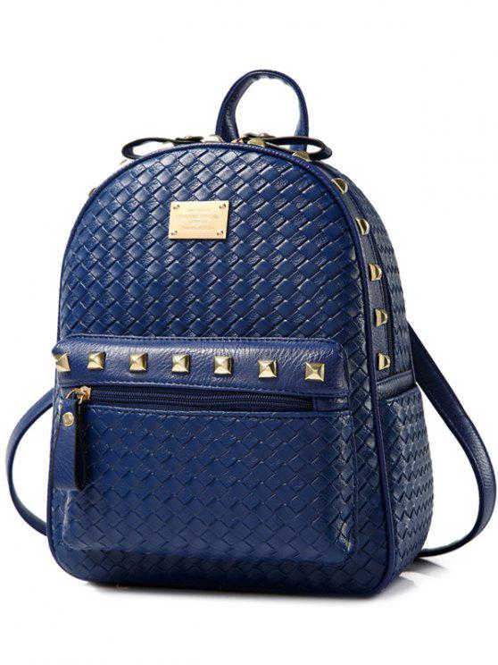 sale Woven Pattern Rivets Zippers Backpack - DEEP BLUE
