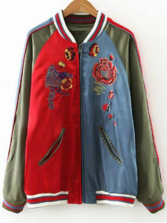 women Flower Embroidered Reversible Baseball Jacket - ARMY GREEN M