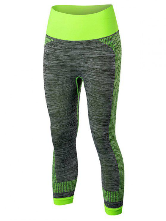 women Sport Capri Running Leggings - GREEN M
