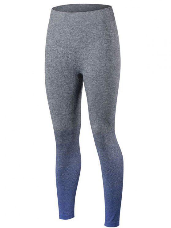 online Gradient Color Sport Running Leggings - BLUE M