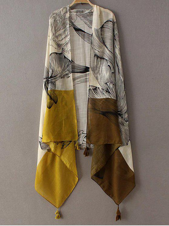 chic Sketch Flower Tassel Pashmina - YELLOW