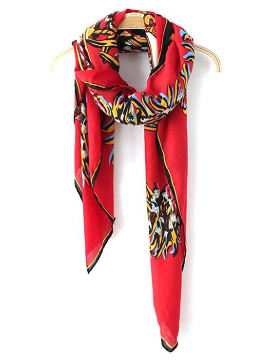 unique Vintage Totem Pattern Scarf - RED