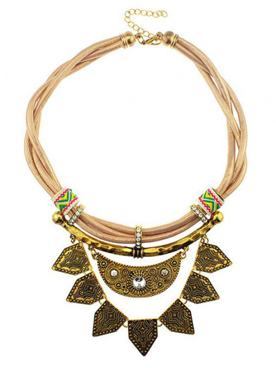 women's Faux Leather Rhinestone Moon Geometric Necklace - YELLOW