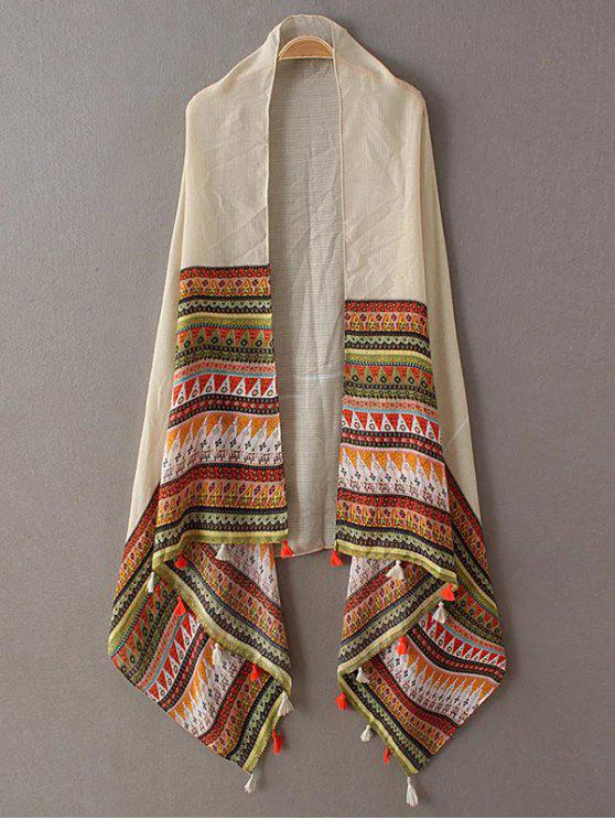 best Triangle Stripe Tassel Pashmina - BEIGE