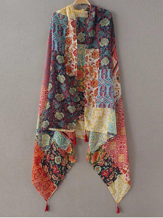 latest Flower Patchwork Tassel Pashmina - YELLOW