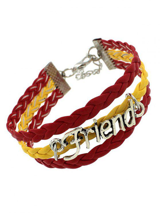 best Faux Leather Flag Woven Friend Bracelet - YELLOW