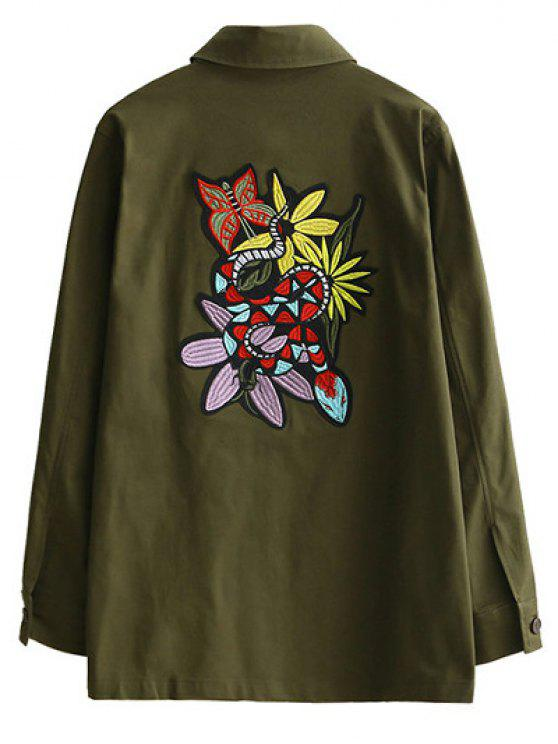shop Retro Embroidered Shirt Collar Coat - ARMY GREEN M