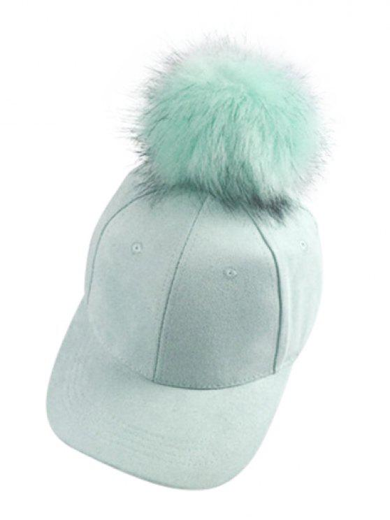 shop Big Fuzzy Ball Faux Suede Baseball Hat - MINT GREEN