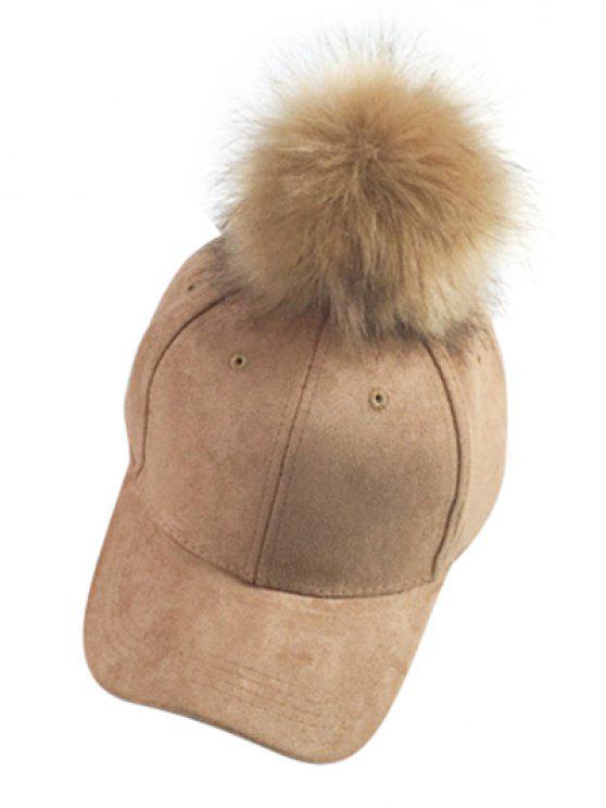 outfits Big Fuzzy Ball Faux Suede Baseball Hat - KHAKI