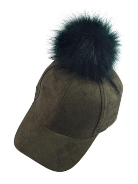outfit Big Fuzzy Ball Faux Suede Baseball Hat - BLACKISH GREEN