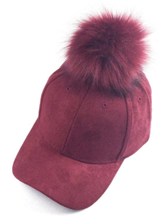 hot Big Fuzzy Ball Faux Suede Baseball Hat - WINE RED