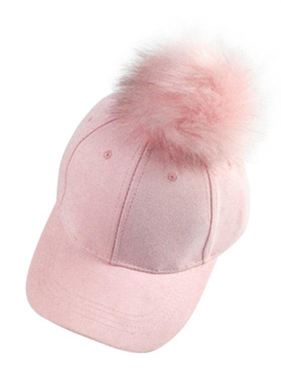 new Big Fuzzy Ball Faux Suede Baseball Hat - PINK