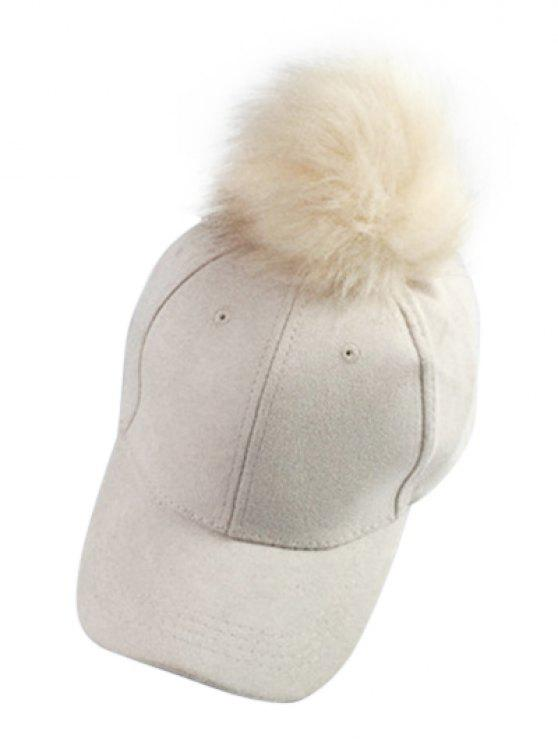 lady Big Fuzzy Ball Faux Suede Baseball Hat - OFF-WHITE