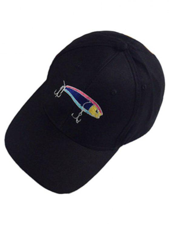 shops Fish and Fishhook Embroidery Baseball Hat - BLACK