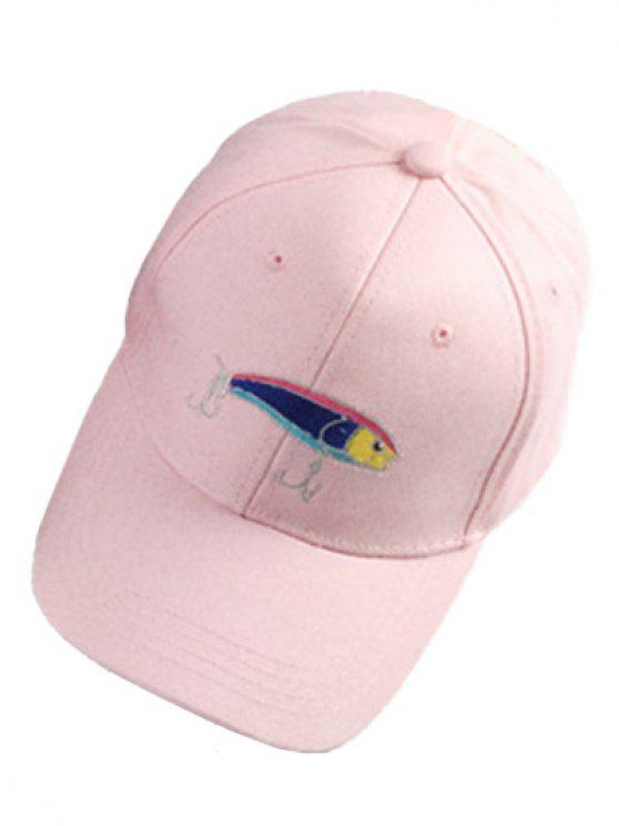 latest Fish and Fishhook Embroidery Baseball Hat - PINK