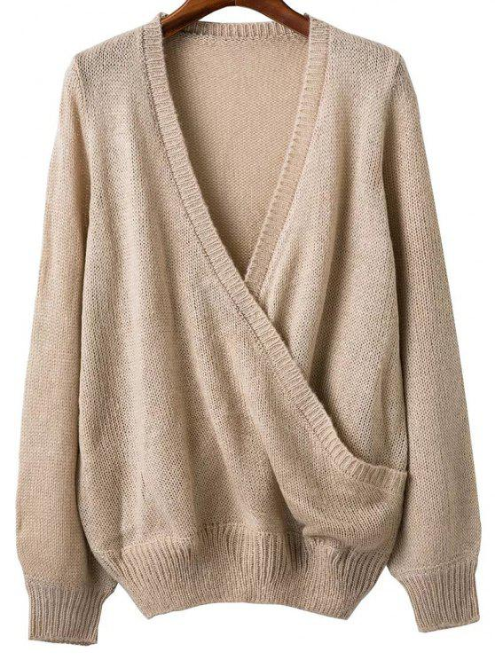 affordable Plunging Neck Cross Front Sweater - APRICOT ONE SIZE
