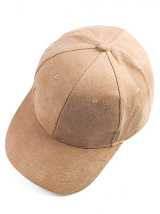 fancy Brief Faux Suede Baseball Hat - LIGHT CAMEL