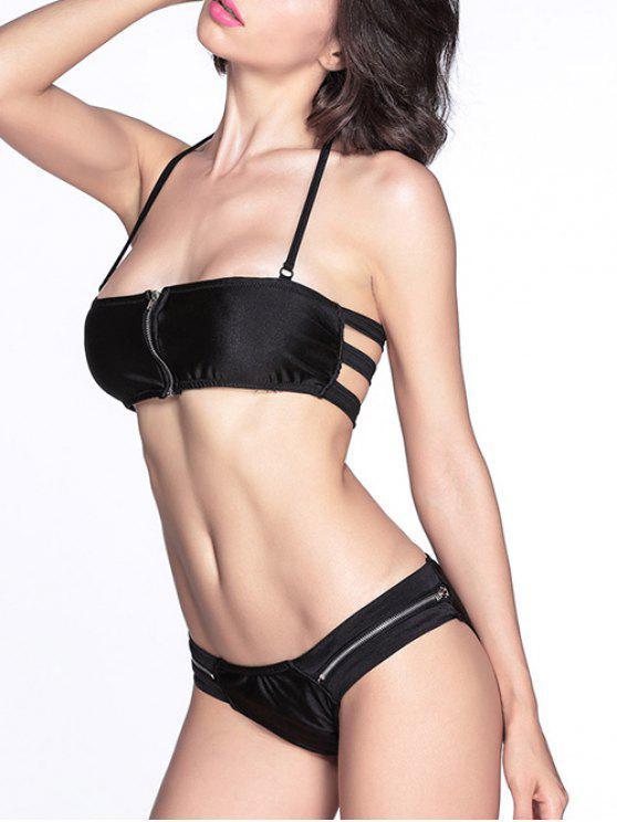 ladies Zip Front Bikini Set - BLACK M