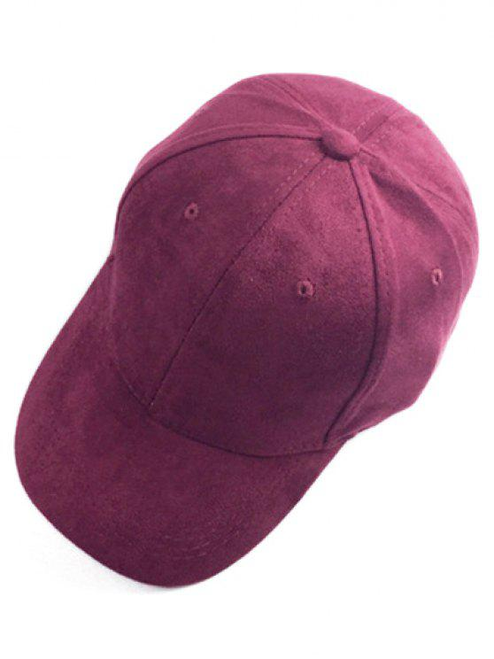 womens Brief Faux Suede Baseball Hat - WINE RED