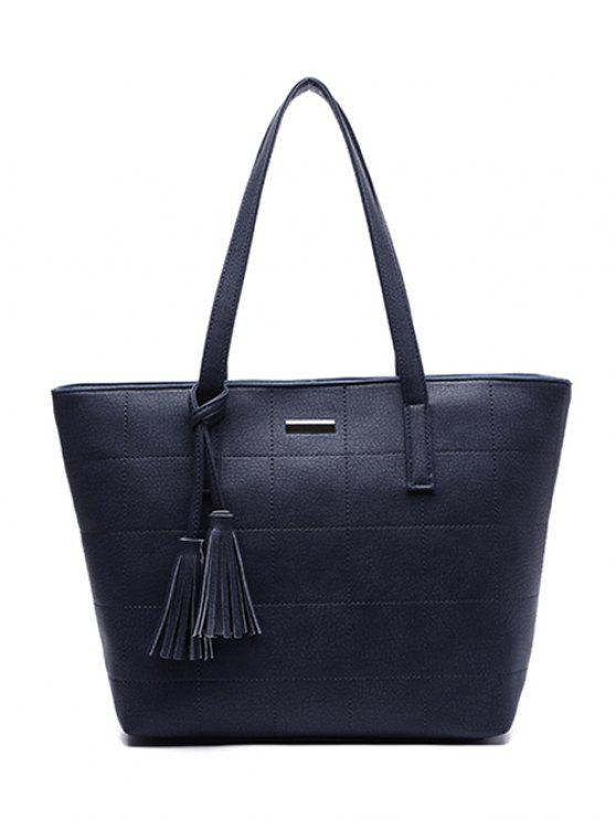 women's Checked Pattern Metal Tassels Shoulder Bag - DEEP BLUE