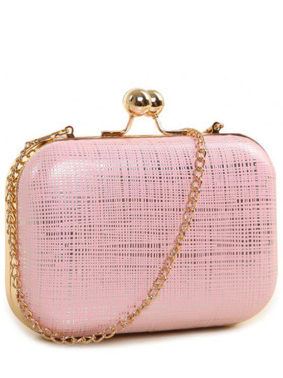 women's Kiss Lock  Chains Stripe Evening Bag - PINK