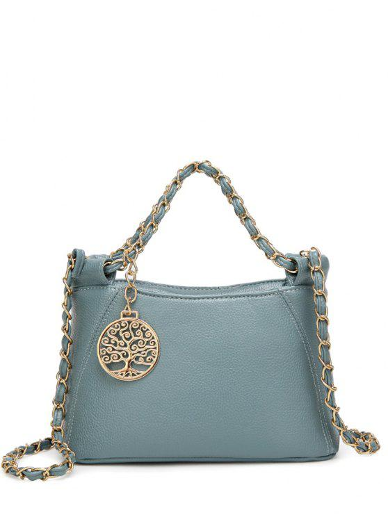 women Chains Metal PU Leather Tote Bag - BLUE