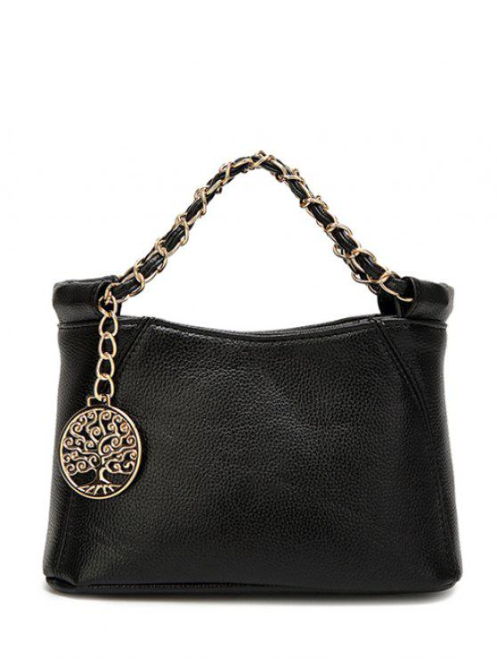 women's Chains Metal PU Leather Tote Bag - BLACK
