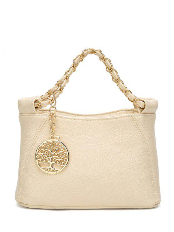 ladies Chains Metal PU Leather Tote Bag - OFF-WHITE