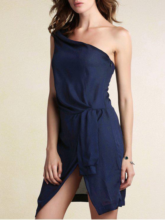 Preto de um ombro Side Vestido com Racha - Azul Arroxeado M