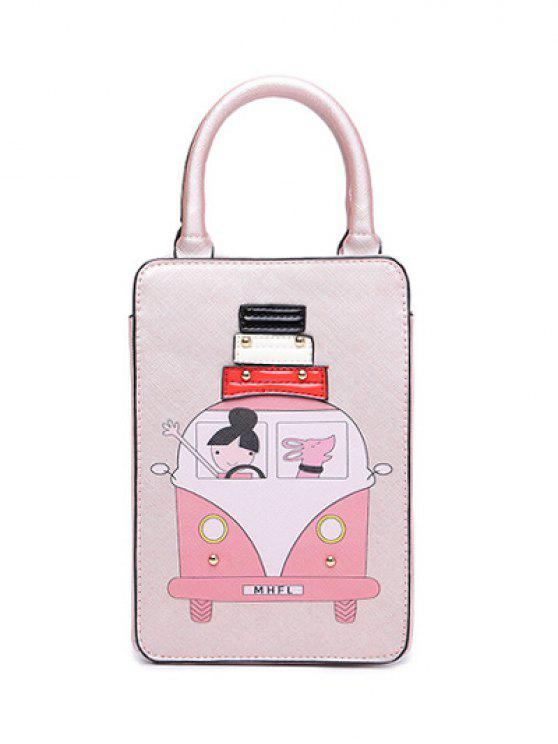 fashion Cartoon Print Metal Tote Bag - PINK