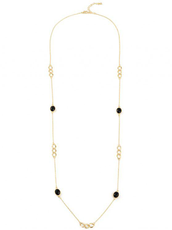 shop Artificial Gem Oval Circle Sweater Chain - GOLDEN