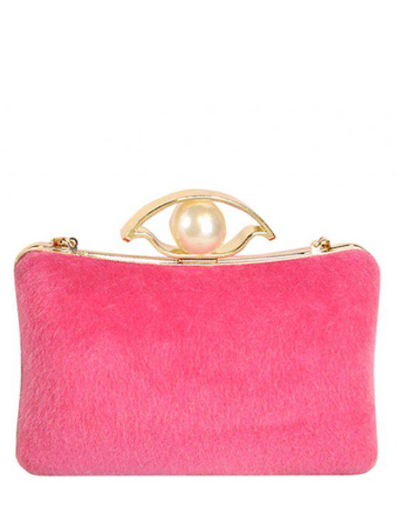 lady Faux Pearl Chain Metal Evening Bag - ROSE MADDER