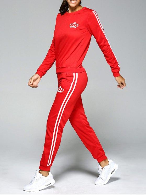 fancy Printed Sweatshirt and Elastic Waist Pants Suit - RED M
