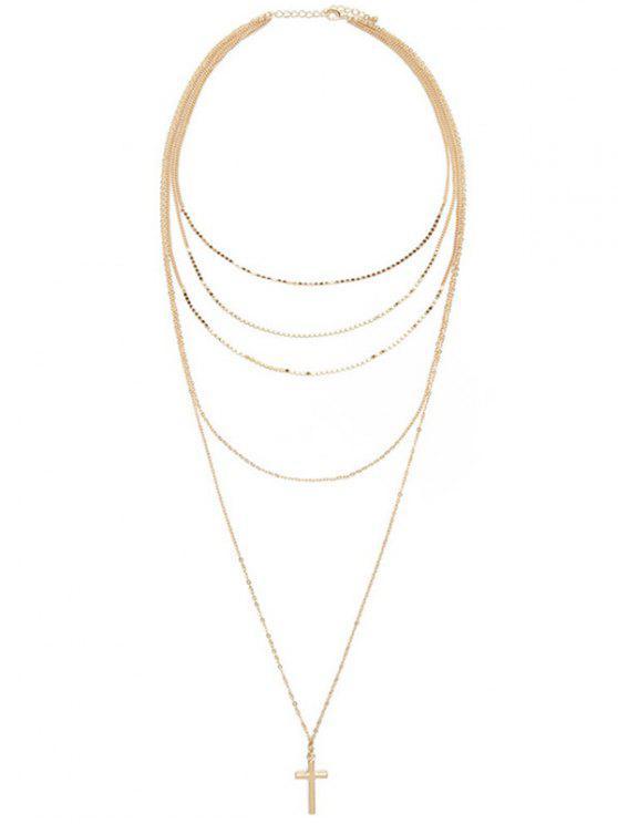 shops Layered Cross Adorn Pendant Sweater Chain - GOLDEN