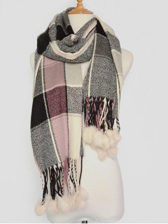outfits Plaid Pompon Pashmina - GRAY