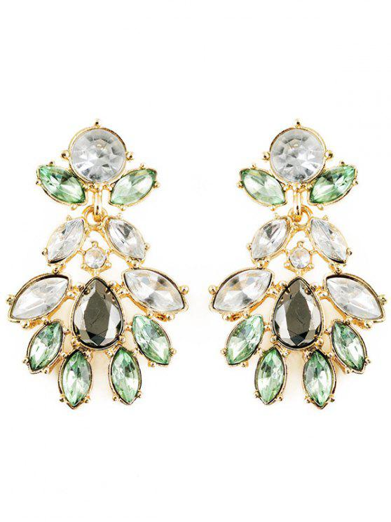 lady Artificial Crystal Oval Water Drop Earrings - GREEN
