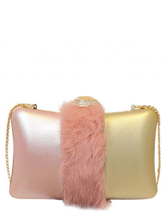 outfits Faux Fur Rhinestone Evening Bag - PINK