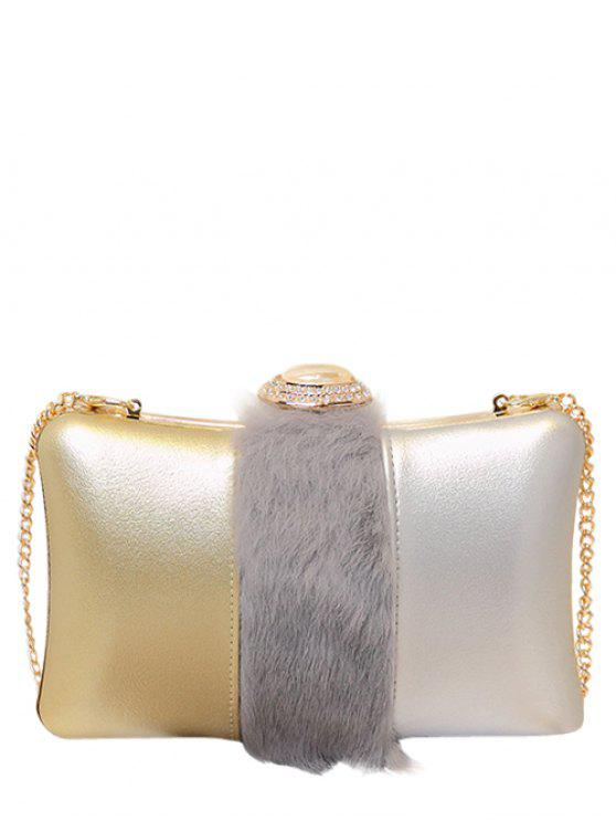 Faux Fur Rhinestone Evening Bag - Cinzento