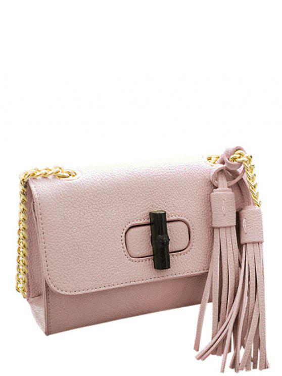outfit Chain Tassels PU Leather Crossbody Bag - PINK