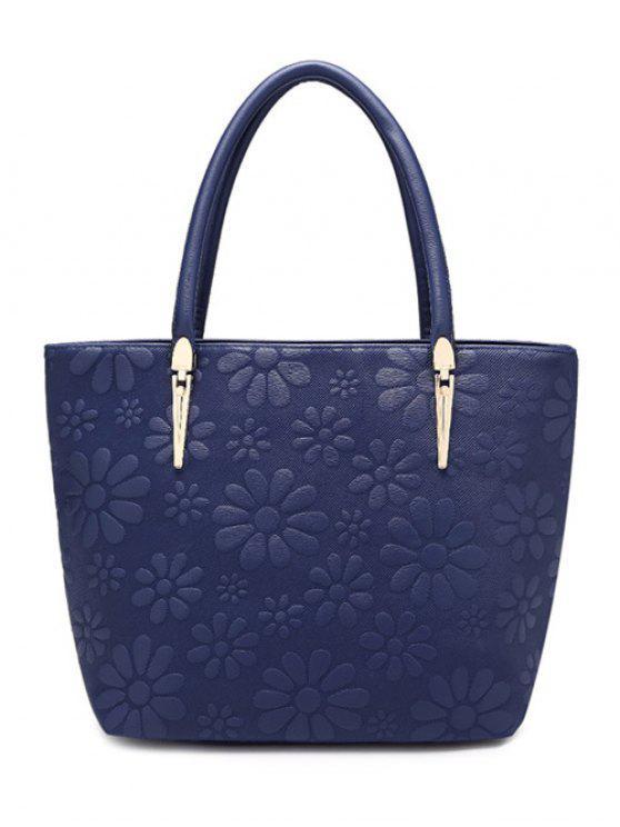 حقيبة الكتف بجلد صناعي معدنية - ازرق غامق