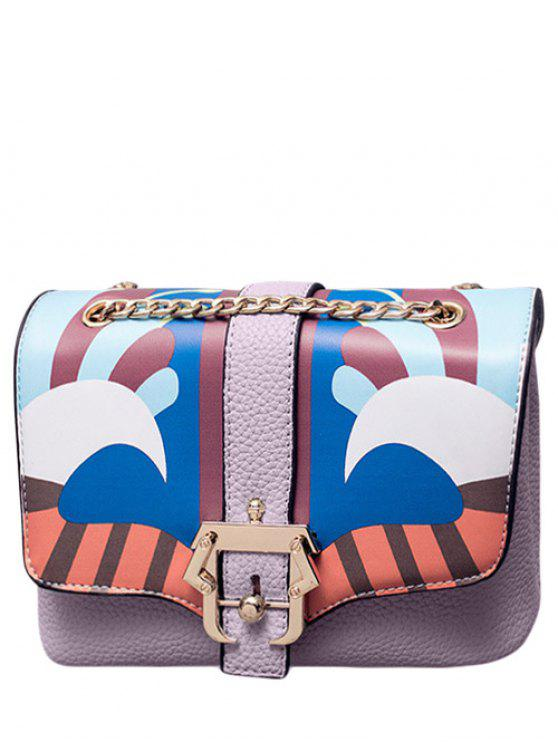 latest Striped Pattern Magnetic Closure Chain Crossbody Bag - LIGHT PURPLE