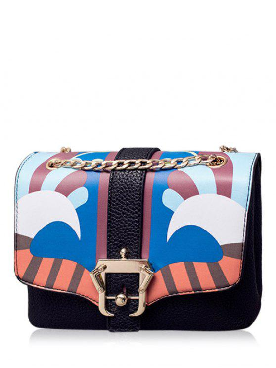 trendy Striped Pattern Magnetic Closure Chain Crossbody Bag - BLACK