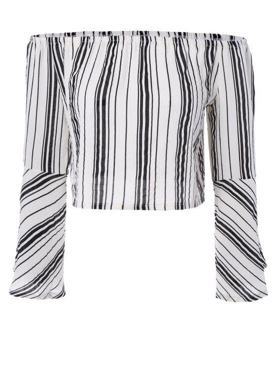 fancy Striped Off The Shoulder Cropped Blouse - WHITE M