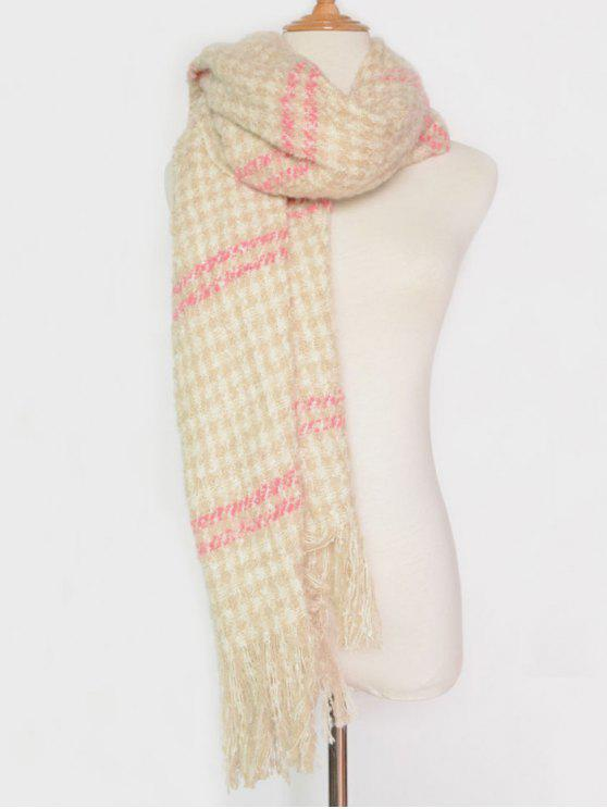 fancy Stripe Houndstooth Tassel Pashmina - PINK